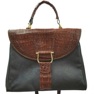 Croc Leather Trim Black Suede Satchel